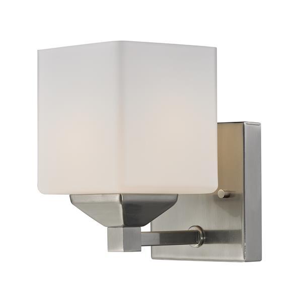 Z-Lite Quube 6-in x 6.75-in Brushed Nickel 1-Light Vanity Light