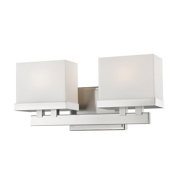 Z-Lite Rivulet 4.75-in x 6.75-in Brushed Nickel 2-Light LED Vanity Light