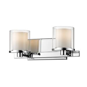 Z-Lite Schema 6.4-in x 6-in Chrome 2-Light LED Vanity Light