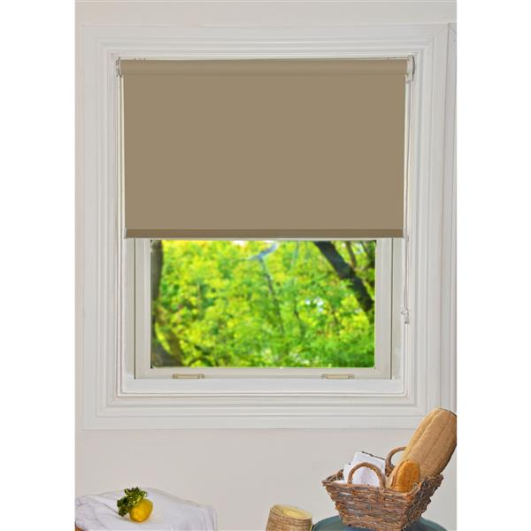 Sun Glow 67-in x 72-in Fawn Motorized Translucent Roller Shade