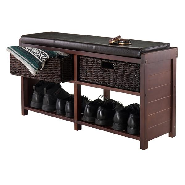 Winsome Wood Colin 18.61-Lbs 20.24-In x 38.19-In x 11.81-In Cappuccino Wood Indoor Storage Bench