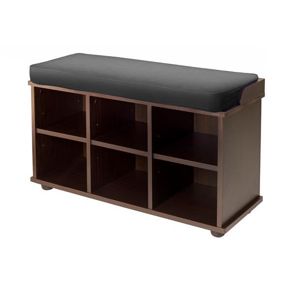 Winsome Wood Townsend 19.17-In x 33.70-In x 12.52-In Dark Espresso 6 Cubby Wooden Indoor Storage Bench