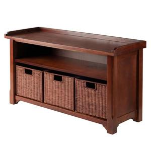 Winsome Wood Milan 22-In x 40-In x 14.17-In Antique Walnut Wooden Indoor Storage Bench With 3 Wired Baskets