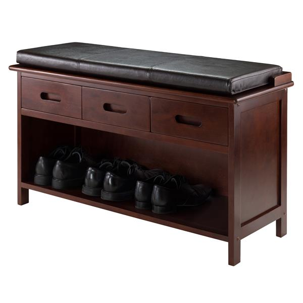 Winsome Wood Adriana 38.27-in Antique Walnut With 3 Drawers And Espresso Faux Leather Cusion Top Indoor Storage Bench