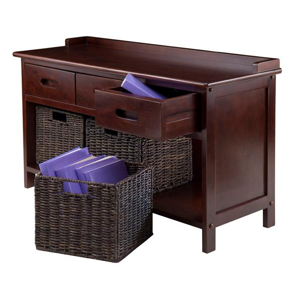 Winsome Wood Adriana 38.27-in Wooden Cubby With 3 Chocolate Foldable Storage Baskets Indoor Bench