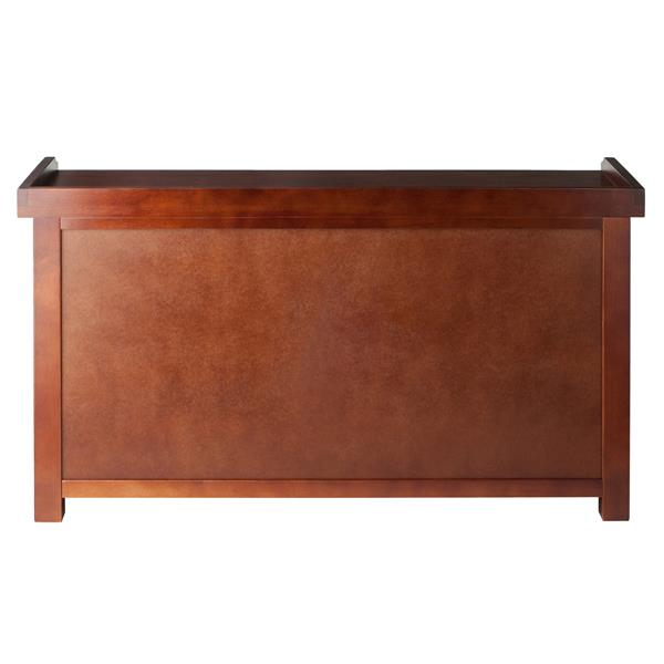 Winsome Wood Verona 22-In x 40-In x 14.20-In Walnut Wooden Indoor Storage Bench With 3 Foldable Beige Baskets