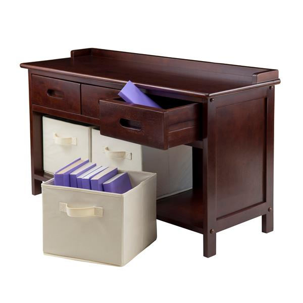 Winsome Wood Adriana 38.27-in Antique Walnut Wooden Cubby With 3 Beige Foldable Storage Baskets Indoor Bench