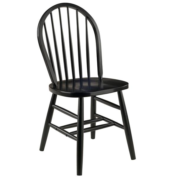 Winsome Wood Windsor 16.69-in Black Dining Chair (Set of 2)