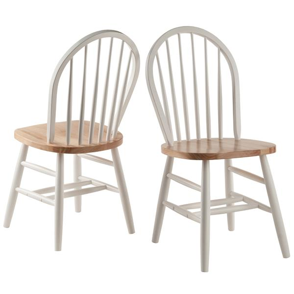 Winesome Wood Windsor 16.69-in White Dining Chair (Set of 2)