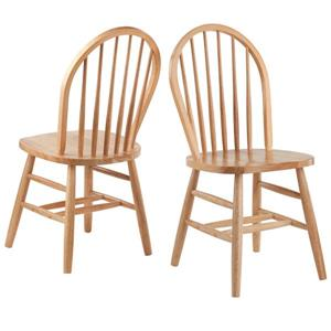 Winesome Wood Windsor 16.69-in Natural Yellow Dining Chair (Set of 2)