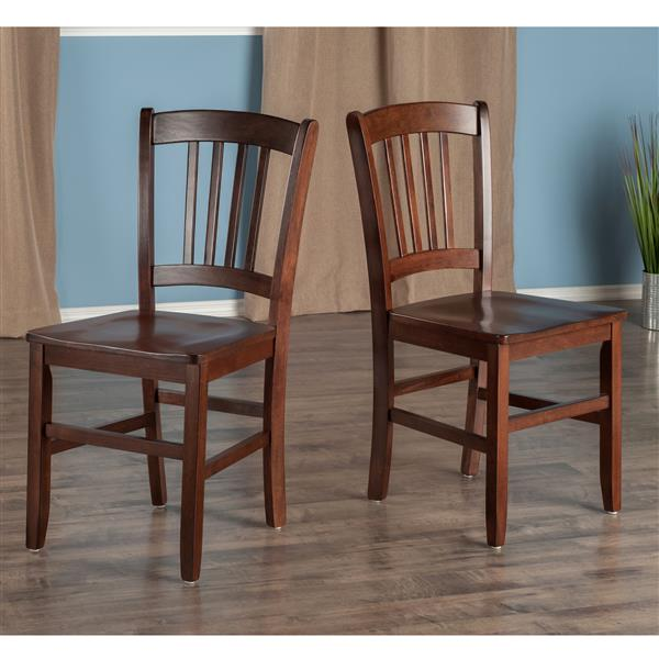 Winsome Wood Madison Walnut Back Chair (Set of 2)