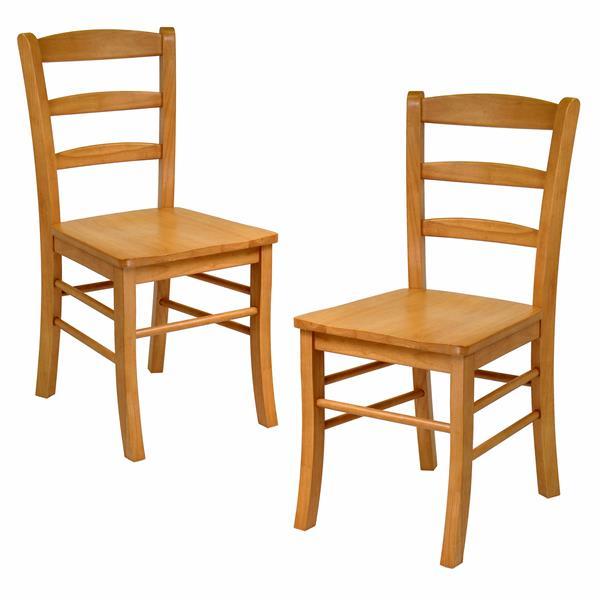 Winsome Wood Benjamin 17.79-in Light Oak Ladder Back Dining Chair (Set of 2)