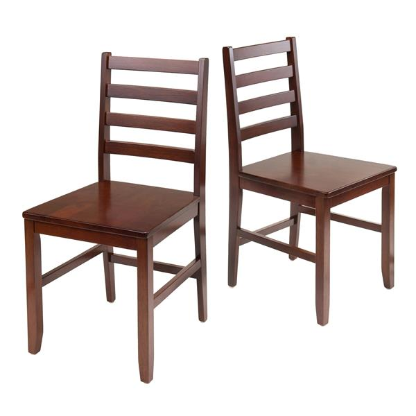 Winsome Wood Hamilton Walnut Ladder Back Dining Chair (Set of 2)