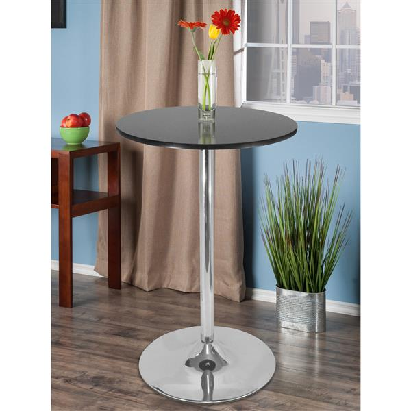 Winsome Wood Spectrum 28.74-in x 40.16-in Composite Black Pub Table