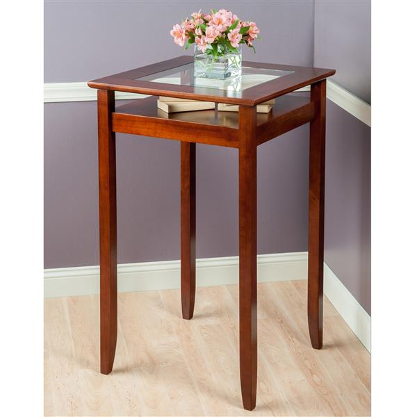 Winsome Wood Halo  25.59-in x 42.13-in Wood Walnut Pub Table with Glass Inset and Shelf