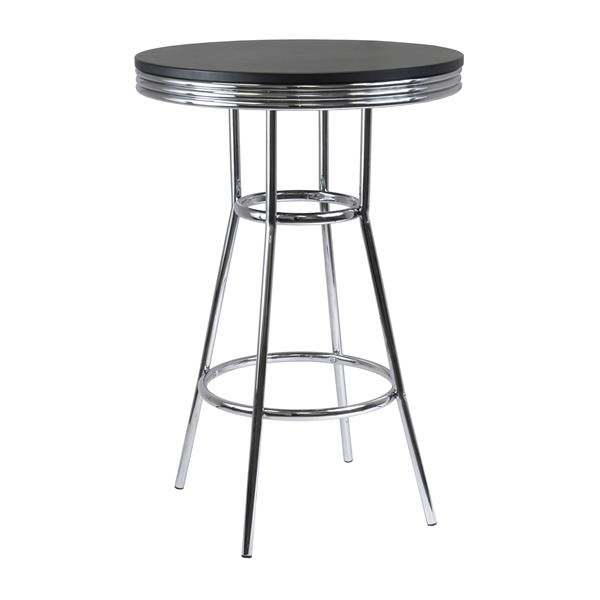 Winsome Wood Summit 30-in x 40.55-in Composite Black Pub Table