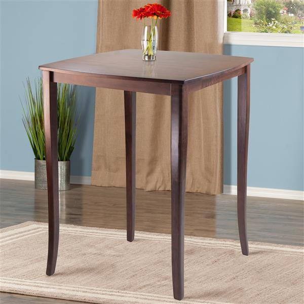 Winsome Wood Inglewood 33.86-in x 38.9-in Wood Walnut Curved Top Counter Height Table