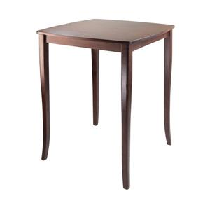 "Table haute Inglewood, 33,86"" x 38,9"", bois, noyer"