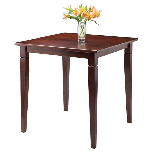 Winsome Wood Kingsgate Walnut  29.53-in x 29.13-in Dining Table Routed with Tapered Legs