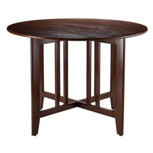Winsome Wood Alamo 41.97-in x 29.65-in Walnut Wood Round Drop Leaf Table