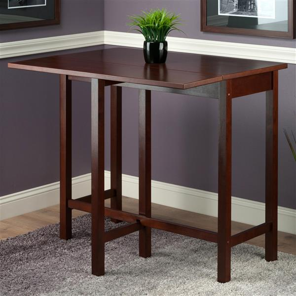 Winsome Wood Lynden 30-in x 35.43-in Walnut Wood Drop Leaf Table