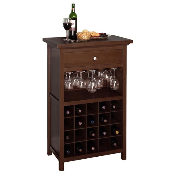 Winsome Wood Chablis Wine Cabinet - 26.6-in x 40.4-in - Wood - Brown