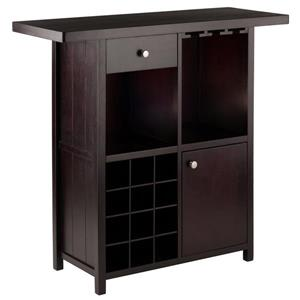 Winsome Wood Macon Wine Bar - 40-in x 37.8-in - Wood - Brown