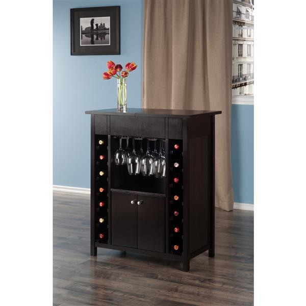 Yukon Wine Cabinet - 30-in x 37.01-in - Wood - Brown