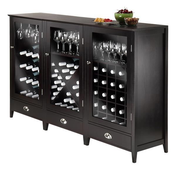 Winsome Wood Bordeaux Wine Cabinet - 22.64-in x 40-in - Brown