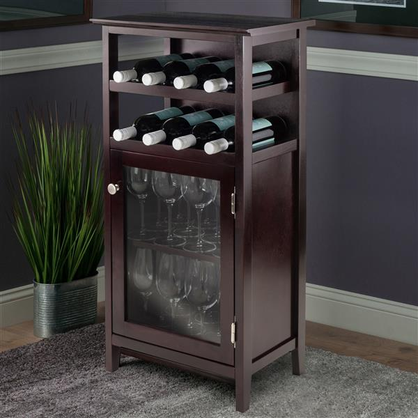 Winsome Wood Alta Wine Cabinet - 19.13-in x 37.48-in - Wood - Brown