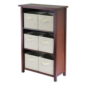 Winsome Wood Verona 28 x 43-in Storage Shelf With 6 Baskets Walnut and Beige