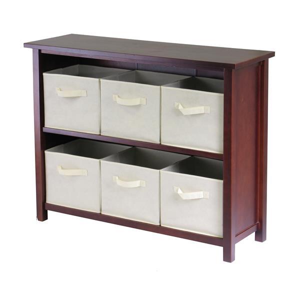 Winsome Wood Verona 39 x 30-in Storage Shelf With 6 Baskets Walnut and Beige