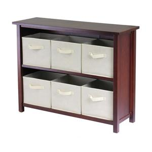 Winsome Wood Verona 39 x 30-in Storage Shelf With 6 Baskets Walnut and Beige