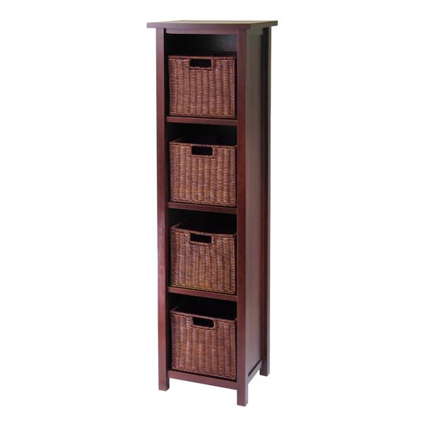Winsome Wood Milan 56-in x 16.40-in x 13-in Antique Walnut 5 pieces Storage Shelf