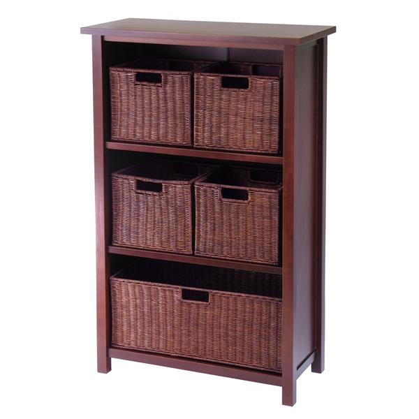 Winsome Wood Milan 43-in x 28-in x 13-in Antique Walnut - 6 Pieces Storage Shelf