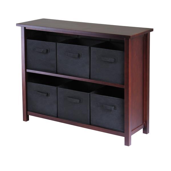Winsome Wood Verona 39 x 30-in Storage Shelf With 6 Baskets Walnut and Black