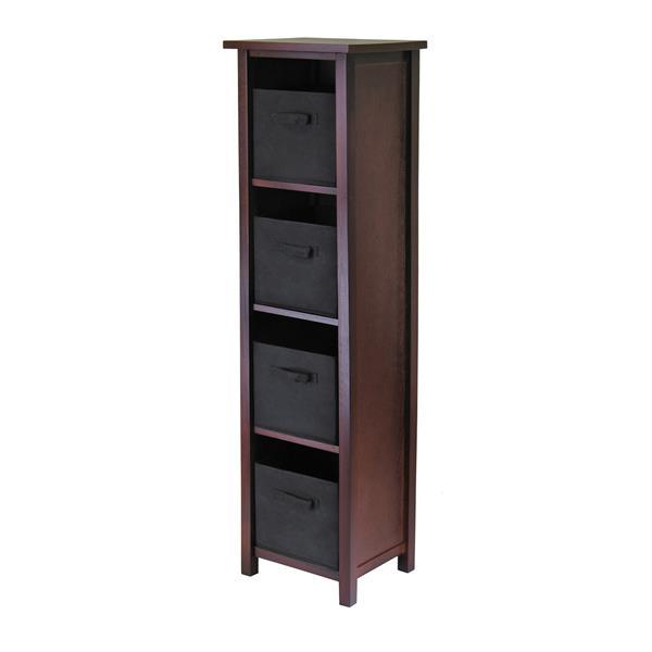 Winsome Wood Verona 16.4 x 56-in Storage Shelf With 4 Baskets Walnut and Black