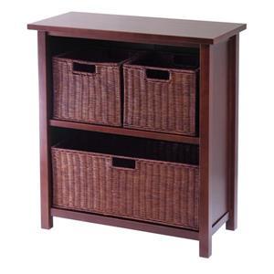 Milan 28-in x 30-in x 13-in Antique Walnut 4 pieces Storage Shelf