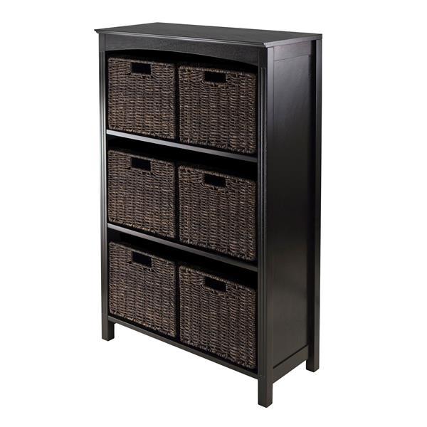 Winsome Wood Terrace 25.98 x 42.99-in 7 Piece Storage Shelf With Baskets Dark Espresso