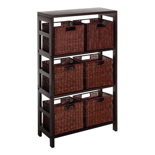 Winsome Wood Leo 42-in x 25.20-in x 11.20-in Dark Espresso 7 Pieces Storage Shelf