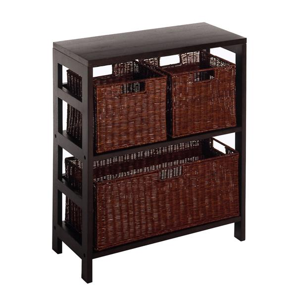 Winsome Wood Leo 29.21-in x 25.20-in x 11.22-in Dark Espresso 4 Pieces Storage Shelf