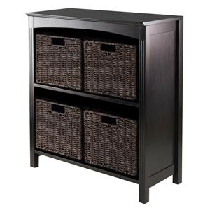 Winsome Wood Terrace 23 x 30-in 5 Piece Storage Shelf With Baskets Dark Espresso
