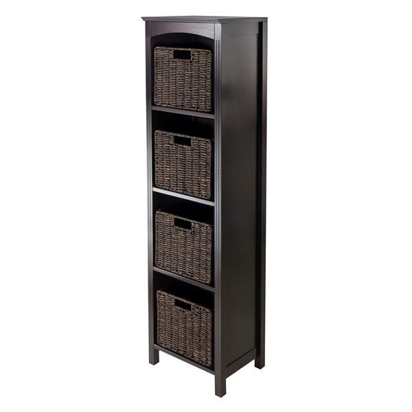 Winsome Wood Terrace 14.49 x 56-in 5 Piece Storage Shelf With Baskets Dark Espresso