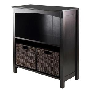 Winsome Wood Terrace 23 x 30-in 3 Piece Storage Shelf With Baskets Dark Espresso