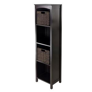 Winsome Wood Terrace 14.49 x 56-in 3 Piece Storage Shelf With Baskets Dark Espresso