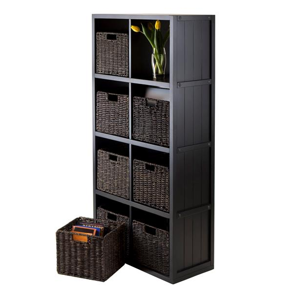 Winsome Wood Timothy 25.63 x 53.11-in 9 Piece Panel Shelf  With 8 Baskets Black