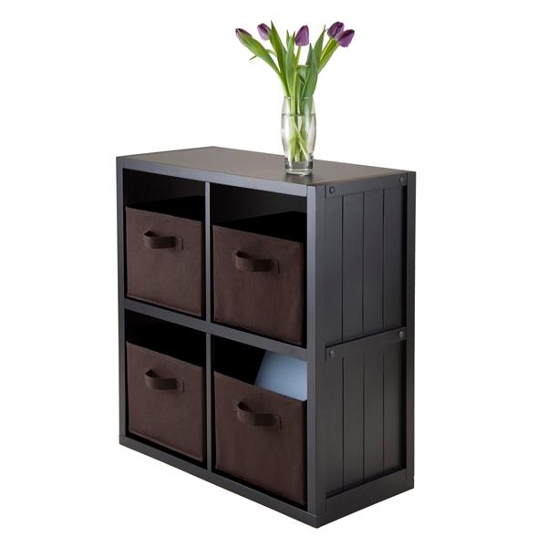 Winsome Wood Timothy 25.63 x 27.05-in 5 Piece Panel Shelf  With 4 Baskets Black Chocolate