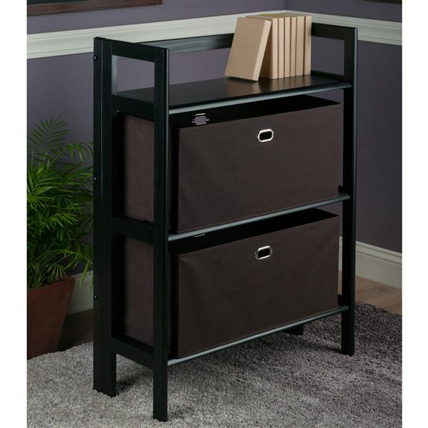 Winsome Wood Torino 27.8 x 38.54-in 3 Tier Folding Bookshelf With 2 Baskets Black Chocolate