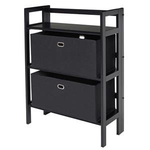 Winsome Wood Torino 27.8 x 39-in 3 Tier Folding Bookshelf With 2 Baskets Black
