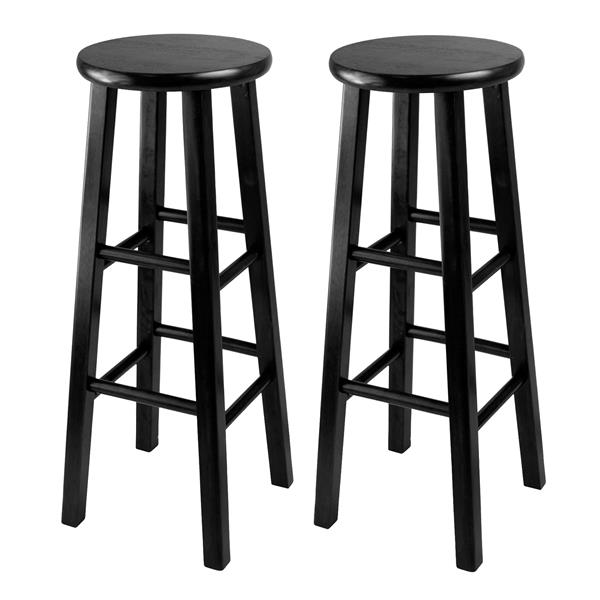 Winsome Wood Pacey Black Bar Stools 13.6-in x 29.1-in (Set of 2)